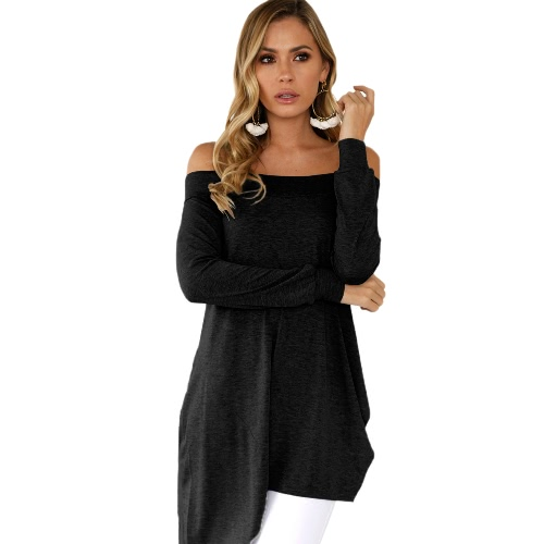 Sexy Women Asymmetric T-Shirt Slash Neck Off Shoulder Solid Long Sleeve Tunic Top Black/Grey/WhiteApparel &amp; Jewelry<br>Sexy Women Asymmetric T-Shirt Slash Neck Off Shoulder Solid Long Sleeve Tunic Top Black/Grey/White<br>