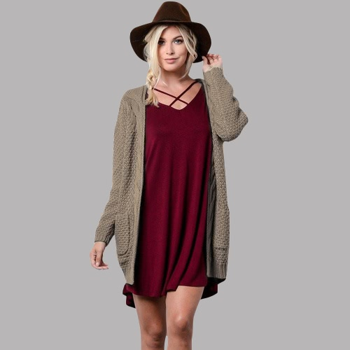 New Winter Autumn Women Knitted Cardigan Sweater Long Sleeves Pockets Elegant Outerwear Burgundy/Coffee/KhakiApparel &amp; Jewelry<br>New Winter Autumn Women Knitted Cardigan Sweater Long Sleeves Pockets Elegant Outerwear Burgundy/Coffee/Khaki<br>