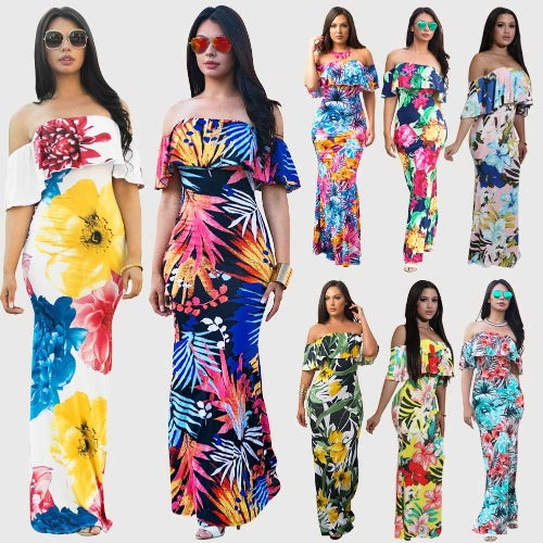 Sexy Women Off Shoulder Maxi Dress Ruffles Floral Print Slim Bodycon Flowers Party Holiday Long DressApparel &amp; Jewelry<br>Sexy Women Off Shoulder Maxi Dress Ruffles Floral Print Slim Bodycon Flowers Party Holiday Long Dress<br>