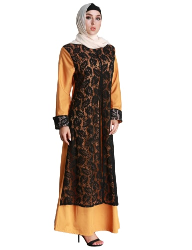 Fashion Women Muslim Dress Lace Splice Long Sleeve Abaya Kaftan Islamic Arab Robe Maxi Long Dress YellowApparel &amp; Jewelry<br>Fashion Women Muslim Dress Lace Splice Long Sleeve Abaya Kaftan Islamic Arab Robe Maxi Long Dress Yellow<br>