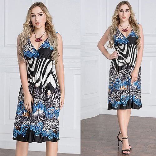 Plus Size Women Midi Dress Geometric Print Deep V-Neck Sleeveless Elastic High Waist Elegant Party DressesApparel &amp; Jewelry<br>Plus Size Women Midi Dress Geometric Print Deep V-Neck Sleeveless Elastic High Waist Elegant Party Dresses<br>