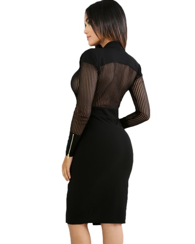 Women  Mesh Accent Dress Deep V-neck Long Sleeve Winter Autumn Club Sexy Sheer Pinstripe Bodycon Dress BlackApparel &amp; Jewelry<br>Women  Mesh Accent Dress Deep V-neck Long Sleeve Winter Autumn Club Sexy Sheer Pinstripe Bodycon Dress Black<br>