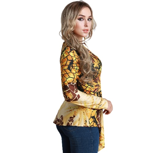 Women Plus Size Blouse Top Contrast Print V-Neck Asymmetric Hem Long Sleeve Top YellowApparel &amp; Jewelry<br>Women Plus Size Blouse Top Contrast Print V-Neck Asymmetric Hem Long Sleeve Top Yellow<br>