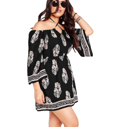 Fashion Women Plus Size Floral Print Off-Shoulder Mini Dress Bardot Neck Long Sleeve Club Party Loose Dress Black/Dark BlueApparel &amp; Jewelry<br>Fashion Women Plus Size Floral Print Off-Shoulder Mini Dress Bardot Neck Long Sleeve Club Party Loose Dress Black/Dark Blue<br>