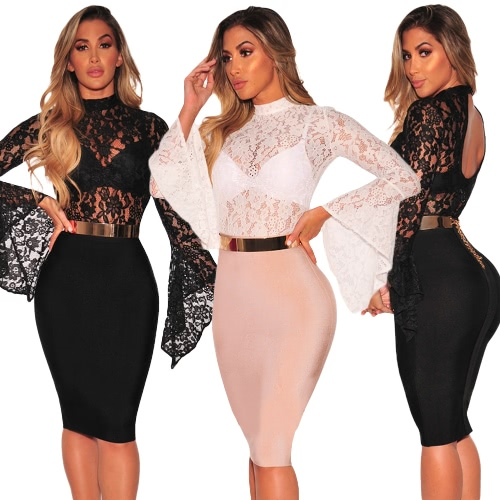 Sexy Floral Lace Jumpsuit Long Bell Sleeves Turtle Neck Hollow Out Backless Sheer Bodysuit Bodycon RompersApparel &amp; Jewelry<br>Sexy Floral Lace Jumpsuit Long Bell Sleeves Turtle Neck Hollow Out Backless Sheer Bodysuit Bodycon Rompers<br>