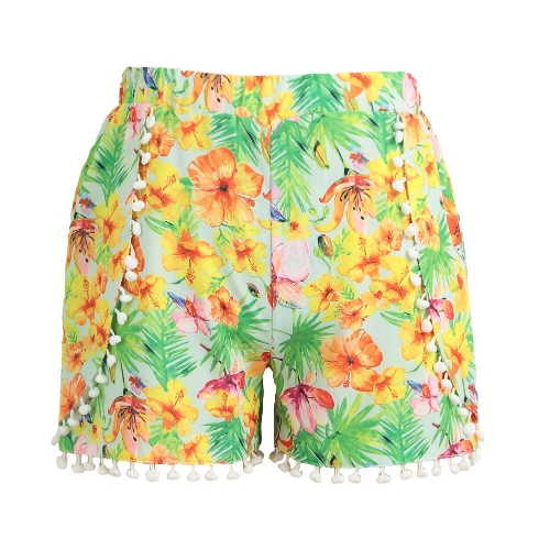 Women Shorts Colorful Floral Print Elastic High Waist Pom Pom Wide Legs Slim Casual Beach WearApparel &amp; Jewelry<br>Women Shorts Colorful Floral Print Elastic High Waist Pom Pom Wide Legs Slim Casual Beach Wear<br>