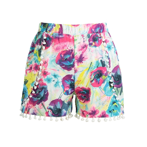 Women Shorts Colorful Floral Print Elastic High Waist Pom Pom Wide Legs Slim Casual Beach WearApparel &amp; Jewelry<br>Women Shorts Colorful Floral Print Elastic High Waist Pom Pom Wide Legs Slim Casual Beach Wear<br>
