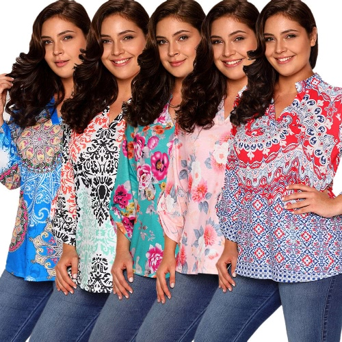 New Women Floral Print Blouse Rolled Sleeve Asymmetric Loose T-shirts Tunic Plus Size TopsApparel &amp; Jewelry<br>New Women Floral Print Blouse Rolled Sleeve Asymmetric Loose T-shirts Tunic Plus Size Tops<br>