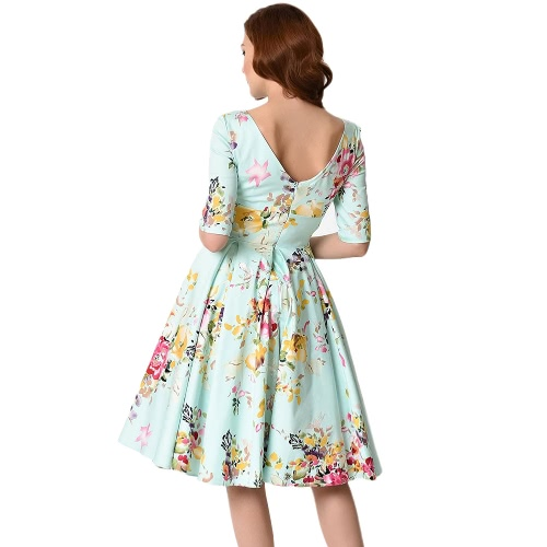 New Vintage Plus Size Floral Swing Dress Round Neck Half Sleeve High Waist Back Zip Party Pleated DressApparel &amp; Jewelry<br>New Vintage Plus Size Floral Swing Dress Round Neck Half Sleeve High Waist Back Zip Party Pleated Dress<br>