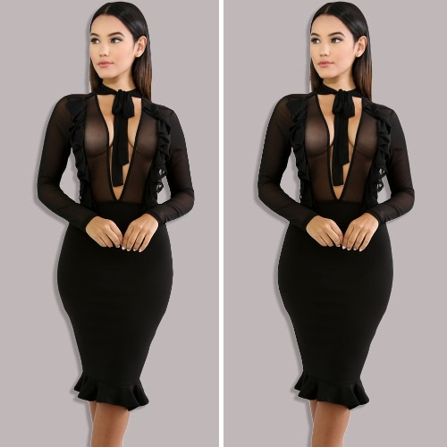 Sexy Women Dress Sheer Mesh Plunge V Tied Bow High Waist Ruffle Midi Bodycon Nightclub One-Piece BlackApparel &amp; Jewelry<br>Sexy Women Dress Sheer Mesh Plunge V Tied Bow High Waist Ruffle Midi Bodycon Nightclub One-Piece Black<br>