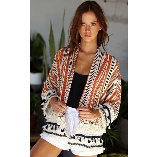 Women Jacket Printed Loose Kimono Cardigan Coat Crochet Lace Long Sleeve Casual Shirt Top Outerwear Blue/OrangeApparel &amp; Jewelry<br>Women Jacket Printed Loose Kimono Cardigan Coat Crochet Lace Long Sleeve Casual Shirt Top Outerwear Blue/Orange<br>