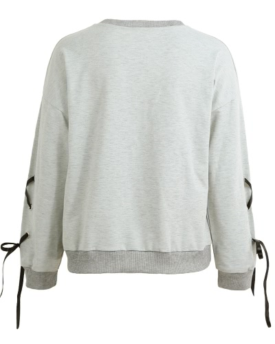 Fashion Women Loose Sweatshirts Lace-Up Bandage O-Neck Long Sleeve Solid Casual Pullover Tops Light GreyApparel &amp; Jewelry<br>Fashion Women Loose Sweatshirts Lace-Up Bandage O-Neck Long Sleeve Solid Casual Pullover Tops Light Grey<br>