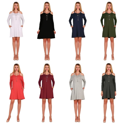 New Fashion Women Cold Shoulder Mini Dress Spaghetti Strap Side Pockets Long Sleeve Party Loose Swing DressApparel &amp; Jewelry<br>New Fashion Women Cold Shoulder Mini Dress Spaghetti Strap Side Pockets Long Sleeve Party Loose Swing Dress<br>
