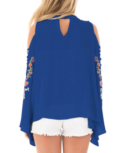 Fashion Women Embroidered Crisscross Off Shoulder Bell Sleeve Blouse Floral Lace Up Loose Blouse TopsApparel &amp; Jewelry<br>Fashion Women Embroidered Crisscross Off Shoulder Bell Sleeve Blouse Floral Lace Up Loose Blouse Tops<br>