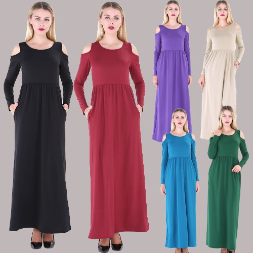 Women Maxi T-shirt Dress Solid Off Shoulder High Waist Pockets Round Neck Long Gown Slim Casual One-PieceApparel &amp; Jewelry<br>Women Maxi T-shirt Dress Solid Off Shoulder High Waist Pockets Round Neck Long Gown Slim Casual One-Piece<br>