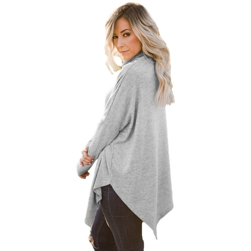 Fashion Winter Women High Neck Sweater Irregular Hem Batwing Long Sleeve Loose Knitwear PulloverApparel &amp; Jewelry<br>Fashion Winter Women High Neck Sweater Irregular Hem Batwing Long Sleeve Loose Knitwear Pullover<br>