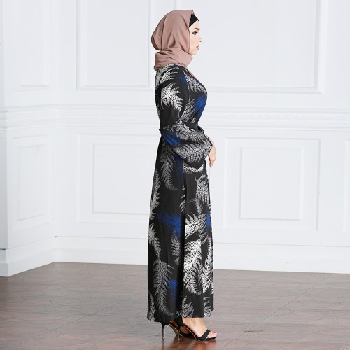 New Fashion Muslim Robe Maxi Dress Print Long Sleeve Tie Waist Turkish Islamic Abaya Kaftans Long Dress BlackApparel &amp; Jewelry<br>New Fashion Muslim Robe Maxi Dress Print Long Sleeve Tie Waist Turkish Islamic Abaya Kaftans Long Dress Black<br>