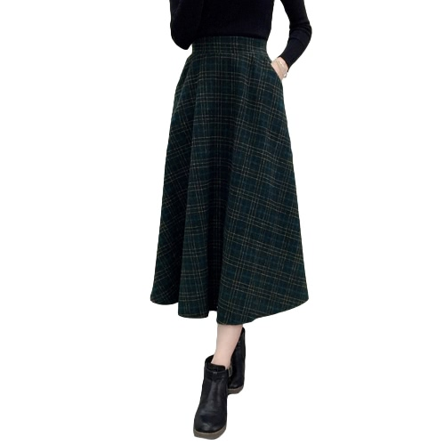 Winter Women Plaid Skirt Woolen High Elastic Waist Elegant A-Line Vintage Warm Midi SkirtsApparel &amp; Jewelry<br>Winter Women Plaid Skirt Woolen High Elastic Waist Elegant A-Line Vintage Warm Midi Skirts<br>