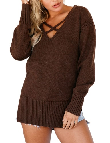 Sexy Women Knitted Sweater Deep V Neck Cross Bandage Long Sleeve Split High-Low Hem Warm Jumper Pullover KnitwearApparel &amp; Jewelry<br>Sexy Women Knitted Sweater Deep V Neck Cross Bandage Long Sleeve Split High-Low Hem Warm Jumper Pullover Knitwear<br>