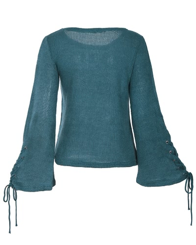 Women Bell Sleeves Knitted Pullover Sweater Lace Up Eyelets O Neck Loose Casual Knit TopApparel &amp; Jewelry<br>Women Bell Sleeves Knitted Pullover Sweater Lace Up Eyelets O Neck Loose Casual Knit Top<br>