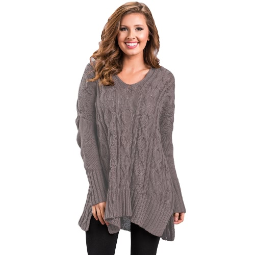 Women Autumn Winter Sweater V-Neck Loose Twist Knitted Sweater Split Jumper Tops Solid KnitwearApparel &amp; Jewelry<br>Women Autumn Winter Sweater V-Neck Loose Twist Knitted Sweater Split Jumper Tops Solid Knitwear<br>