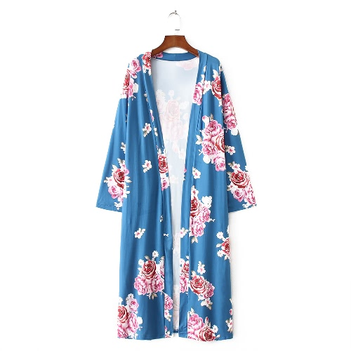 New Women Outerwear Open Front Floral Print 3/4 Sleeves Vintage Loose Casual CardiganApparel &amp; Jewelry<br>New Women Outerwear Open Front Floral Print 3/4 Sleeves Vintage Loose Casual Cardigan<br>