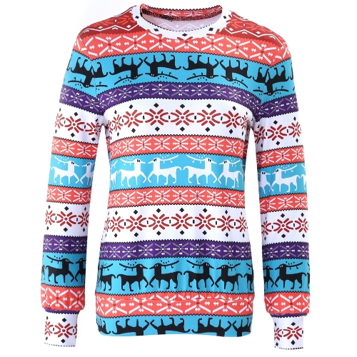 Winter Women Sweater Reindeer Snow Print O-Neck Long Sleeve Elegant Warm Pullover Christmas Tops BlouseApparel &amp; Jewelry<br>Winter Women Sweater Reindeer Snow Print O-Neck Long Sleeve Elegant Warm Pullover Christmas Tops Blouse<br>