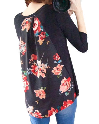 Women T-shirt Splicing Floral Print Dipped High Low Asymmetric Hem V Neck Three Quarter Sleeve Causal TopsApparel &amp; Jewelry<br>Women T-shirt Splicing Floral Print Dipped High Low Asymmetric Hem V Neck Three Quarter Sleeve Causal Tops<br>