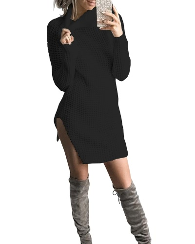 Women Autumn Winter Sweater Turtleneck Split Knitted Sweater Dress Jumper Tops Solid OuterwearApparel &amp; Jewelry<br>Women Autumn Winter Sweater Turtleneck Split Knitted Sweater Dress Jumper Tops Solid Outerwear<br>