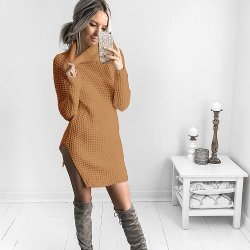 Women Autumn Winter Sweater Turtleneck Split Knitted Sweater Dress Jumper Tops Solid OuterwearApparel &amp; Jewelry<br>Women Autumn Winter Sweater Turtleneck Split Knitted Sweater Dress Jumper Tops Solid Outerwear<br>