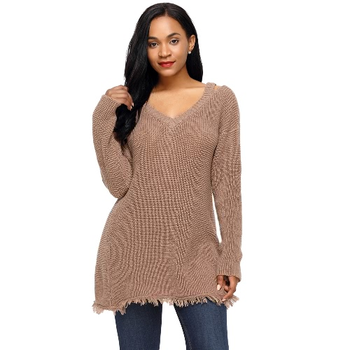Women Long Sleeves Knitted Pullovers Sweater Deep V Neck Hollow Out Dropped Shoulder Fringe Long Loose Knit TopApparel &amp; Jewelry<br>Women Long Sleeves Knitted Pullovers Sweater Deep V Neck Hollow Out Dropped Shoulder Fringe Long Loose Knit Top<br>