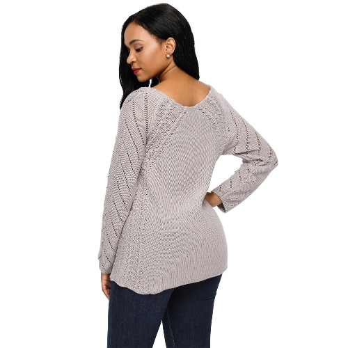 New Fashion Women Cutout Long Sleeve Knitted Sweater Wide V Neck Loose Casual Knitwear TopApparel &amp; Jewelry<br>New Fashion Women Cutout Long Sleeve Knitted Sweater Wide V Neck Loose Casual Knitwear Top<br>