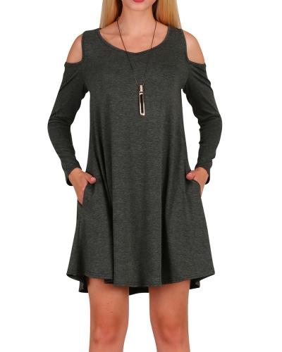 Women Long Sleeve Casual Loose Swing T-Shirt Dress Off Shoulder Tunic Pockets Mini DressApparel &amp; Jewelry<br>Women Long Sleeve Casual Loose Swing T-Shirt Dress Off Shoulder Tunic Pockets Mini Dress<br>
