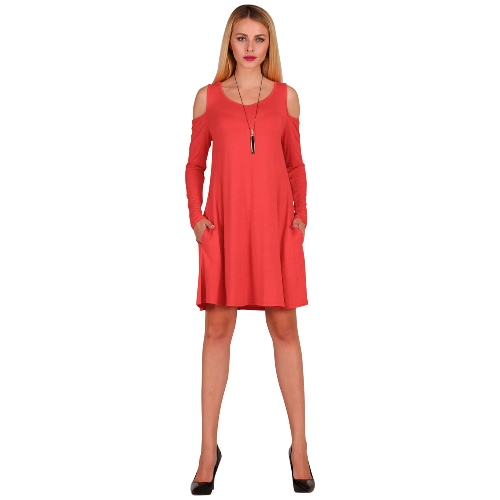 Women Long Sleeve Casual Loose Swing T-Shirt Dress Off Shoulder Tunic Pockets Mini DressApparel &amp; Jewelry<br>Women Long Sleeve Casual Loose Swing T-Shirt Dress Off Shoulder Tunic Pockets Mini Dress<br>