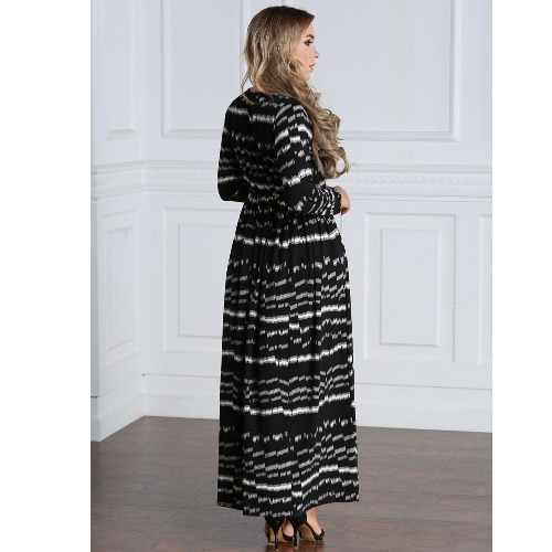 Sexy Women Plus Size Printed Dress Big Size Round Neck Ankle-Length Long Maxi Dress BlackApparel &amp; Jewelry<br>Sexy Women Plus Size Printed Dress Big Size Round Neck Ankle-Length Long Maxi Dress Black<br>