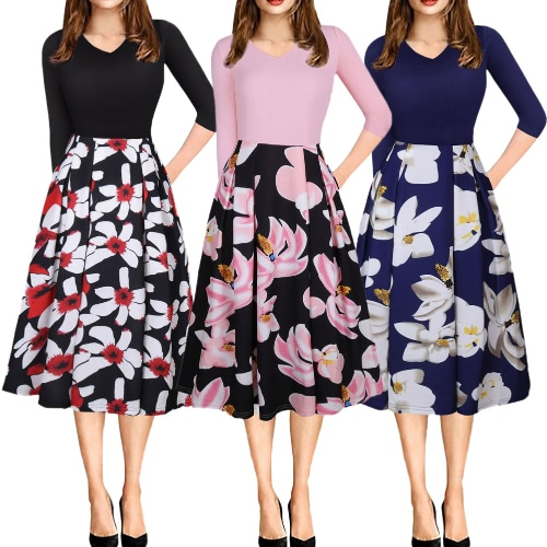 Women Vintage Floral Print Dress Contrast Puffy Swing Dress Tunic Casual A-line Dress Beige/Blue/PinkApparel &amp; Jewelry<br>Women Vintage Floral Print Dress Contrast Puffy Swing Dress Tunic Casual A-line Dress Beige/Blue/Pink<br>