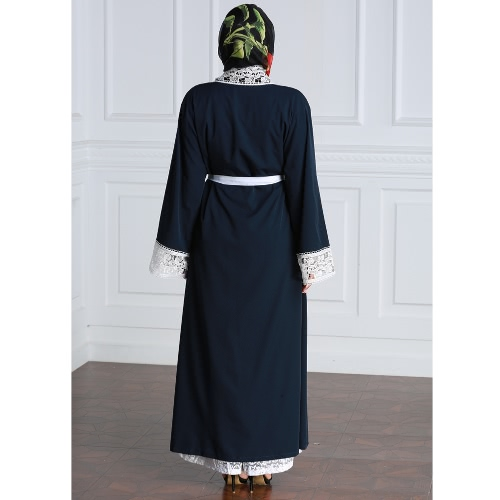Women Plus Size Muslim Cardigan Spliced Crochet Lace Long Sleeve Islamic Abaya Maxi Dress Outwear Dark BlueApparel &amp; Jewelry<br>Women Plus Size Muslim Cardigan Spliced Crochet Lace Long Sleeve Islamic Abaya Maxi Dress Outwear Dark Blue<br>