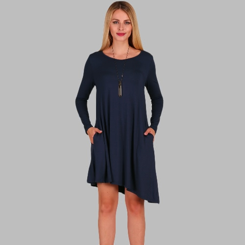 New Fashion Women Asymmetric Mini Dress Side Pockets Round Neck Long Sleeve Party Loose Swing DressApparel &amp; Jewelry<br>New Fashion Women Asymmetric Mini Dress Side Pockets Round Neck Long Sleeve Party Loose Swing Dress<br>
