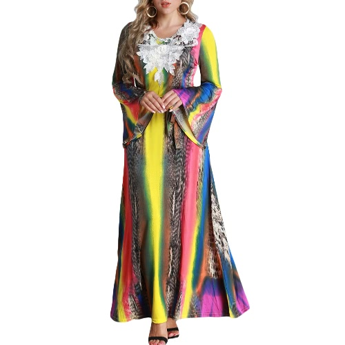 Women Plus Size Maxi Long Dress Contrast Color Flare Long Sleeves Belt Lace Colorful Elegant A-Line DressesApparel &amp; Jewelry<br>Women Plus Size Maxi Long Dress Contrast Color Flare Long Sleeves Belt Lace Colorful Elegant A-Line Dresses<br>