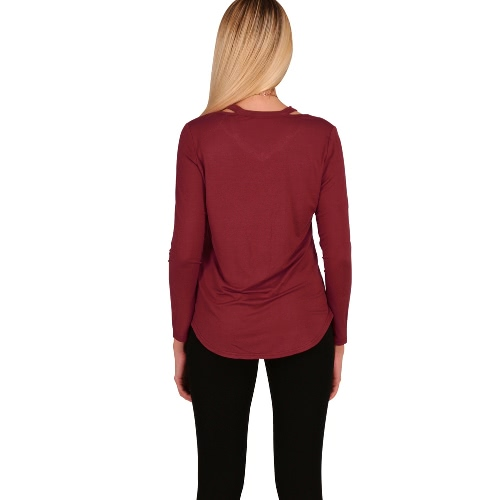 Sexy Women Cotton Asymmetric T-Shirt Solid Long Sleeve Hollow Out Casual Autumn Brief Basic Tee TopApparel &amp; Jewelry<br>Sexy Women Cotton Asymmetric T-Shirt Solid Long Sleeve Hollow Out Casual Autumn Brief Basic Tee Top<br>