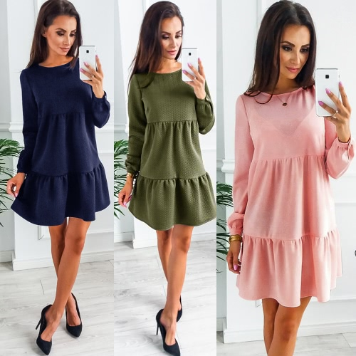 Women Long Sleeve Casual Loose Tiered Dress Solid Color Tunic Mini Dress Pink/Green/Dark BlueApparel &amp; Jewelry<br>Women Long Sleeve Casual Loose Tiered Dress Solid Color Tunic Mini Dress Pink/Green/Dark Blue<br>