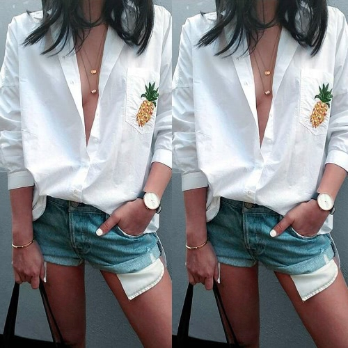 Women Pineapple Print Shirt Pocket Loose Blouse Button Turn Down Collar Long Sleeve Casual Top WhiteApparel &amp; Jewelry<br>Women Pineapple Print Shirt Pocket Loose Blouse Button Turn Down Collar Long Sleeve Casual Top White<br>