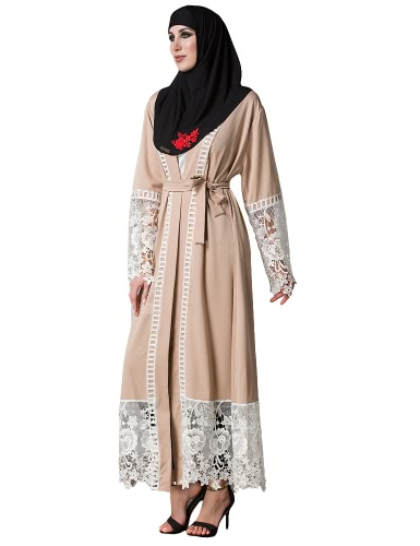 Women Muslim Floral Lace Robes Long Sleeve Abaya Kaftan Islamic Arab Long Cardigan Belted Trench Coat KhakiApparel &amp; Jewelry<br>Women Muslim Floral Lace Robes Long Sleeve Abaya Kaftan Islamic Arab Long Cardigan Belted Trench Coat Khaki<br>