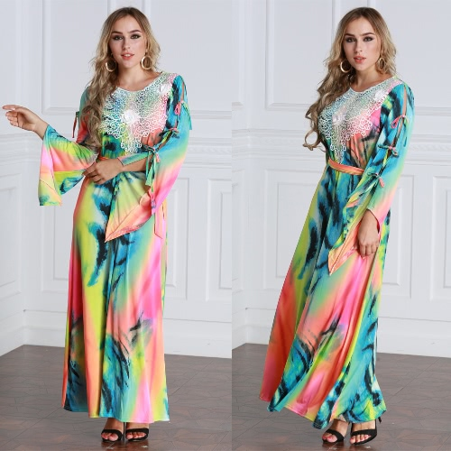 Fashion Women Plus Size Maxi Dress Contrast Color Lace Long Sleeve Bandage Tie Belted Long Dress BlueApparel &amp; Jewelry<br>Fashion Women Plus Size Maxi Dress Contrast Color Lace Long Sleeve Bandage Tie Belted Long Dress Blue<br>
