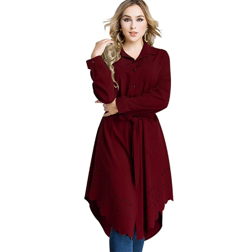Women Plus Size Shirt Dress Burning Flowers Hollow Out Irregular Hem Belted Casual Tunic Long Blouse TopApparel &amp; Jewelry<br>Women Plus Size Shirt Dress Burning Flowers Hollow Out Irregular Hem Belted Casual Tunic Long Blouse Top<br>