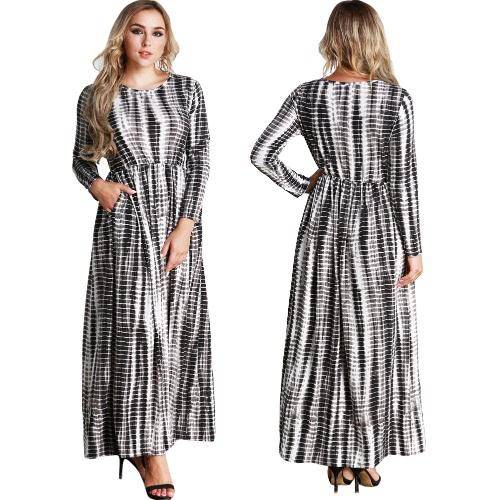 Casual Women Plus Size Stripe Printed Dress Big Size O-Neck Ankle-Length Long Maxi Dress BlackApparel &amp; Jewelry<br>Casual Women Plus Size Stripe Printed Dress Big Size O-Neck Ankle-Length Long Maxi Dress Black<br>