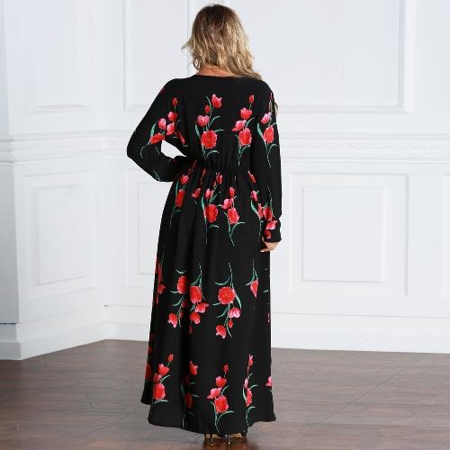 New Fashion Plus Size Maxi Dress Rose Print O Neck Long Sleeve Elastic Waist Long Dress BlackApparel &amp; Jewelry<br>New Fashion Plus Size Maxi Dress Rose Print O Neck Long Sleeve Elastic Waist Long Dress Black<br>