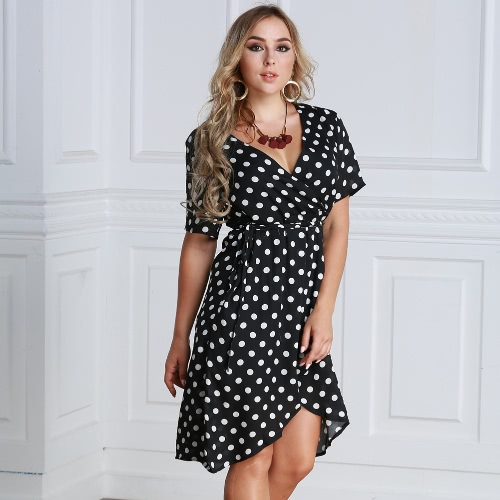Women Polka Dot Chiffon Dress Deep V Neck Short Sleeves Cross Overlap Vintage Dress Plus Size BlackApparel &amp; Jewelry<br>Women Polka Dot Chiffon Dress Deep V Neck Short Sleeves Cross Overlap Vintage Dress Plus Size Black<br>