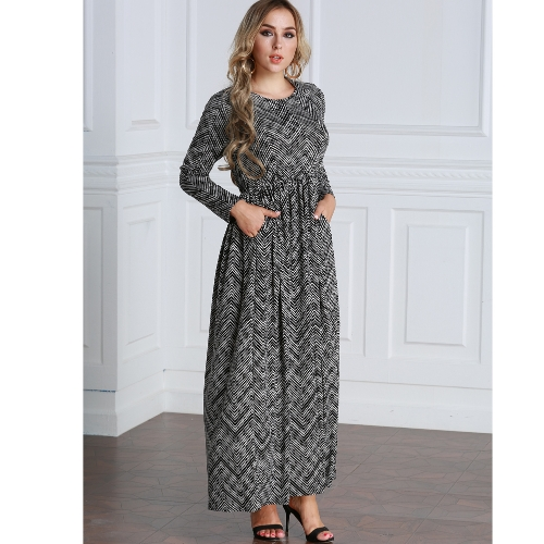Casual Women Plus Size Dress Stripe Printed Loose Size O-Neck Ankle-Length Long Maxi Dress BlackApparel &amp; Jewelry<br>Casual Women Plus Size Dress Stripe Printed Loose Size O-Neck Ankle-Length Long Maxi Dress Black<br>