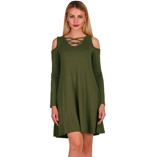Fashion Women Criss Cross Front Deep V Neck Cold Shoulder Mini Dress Solid Color Pockets Skater DressApparel &amp; Jewelry<br>Fashion Women Criss Cross Front Deep V Neck Cold Shoulder Mini Dress Solid Color Pockets Skater Dress<br>